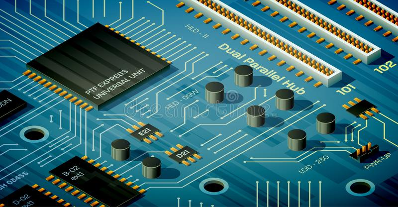 Isometric Motherboard Illustration. Vector blue motherboard illustration in isometric perspective. Capacitors, ports, chips and semiconductor tracks on the flat royalty free illustration