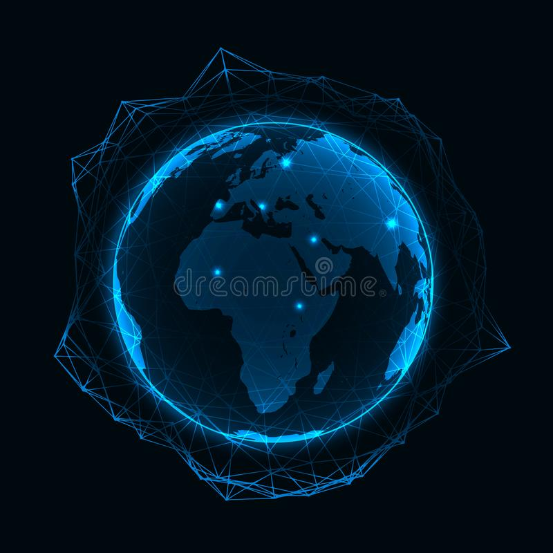 Vector blue neon illuminated globe with geometric polygonal grid and glowing points - connection network or international business vector illustration