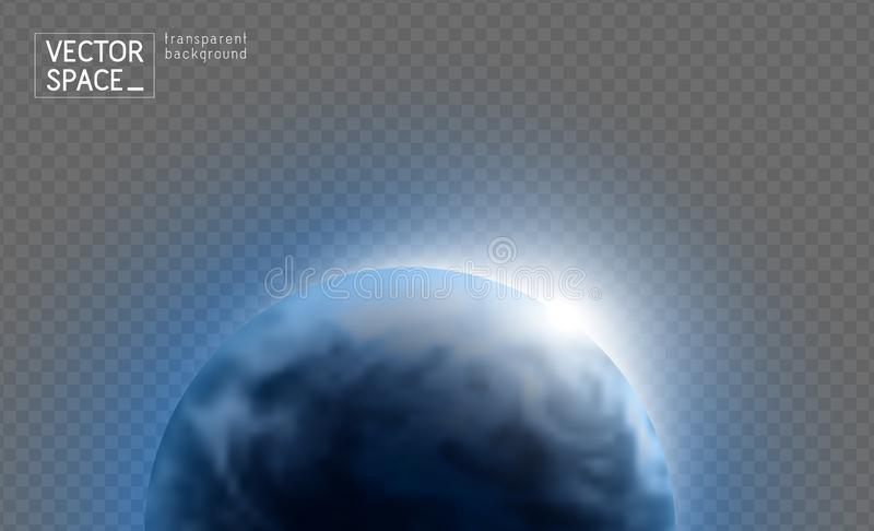 Vector blue planet Earth with sunrise in space isolated on transparent background. Blue globe illustration. Sciense astronomy royalty free stock photo
