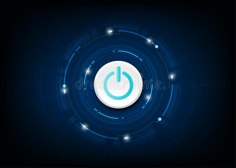 Vector blue power button on technology background. royalty free illustration