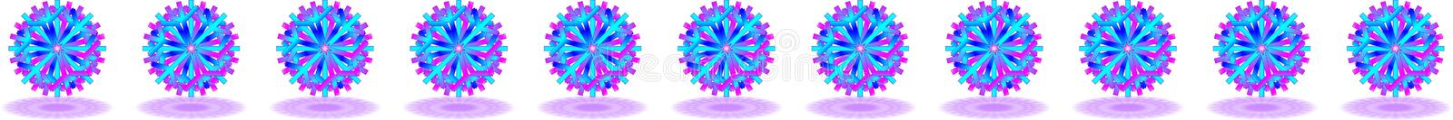 Vector blue purple Christmas stars with shadows on bottom, below on translucent background, as a bar, banner, border, etc.,. Vector eleven blue purple Christmas stock illustration