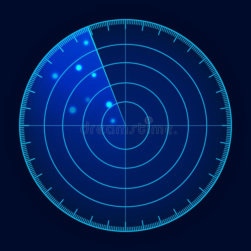 Vector blue radar screen. Military search system. Futuristic HUD radar display. Futuristic HUD interface royalty free illustration