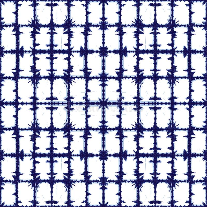Vector blue rectangles grid abstract pattern. Suitable for textile, gift wrap and wallpaper. stock illustration