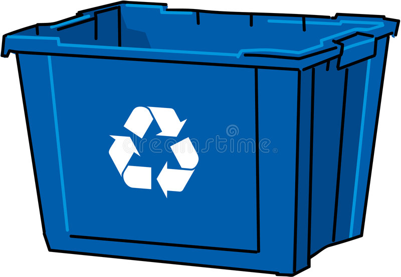 Vector blue recycle bin stock illustration