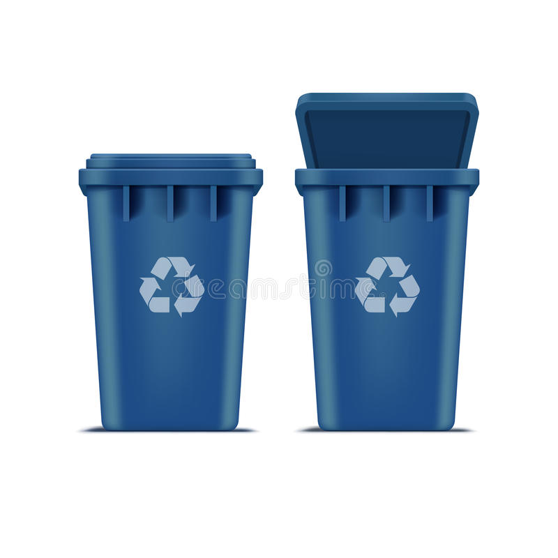 Vector Blue Recycle Bin for Trash and Garbage. Isolated on White Background stock illustration
