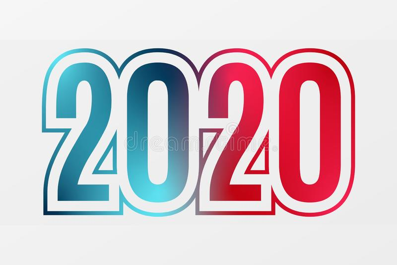 2020 vector blue red gradient symbol. Happy New Year illustration for decoration, celebration, winter holiday, infographic vector illustration