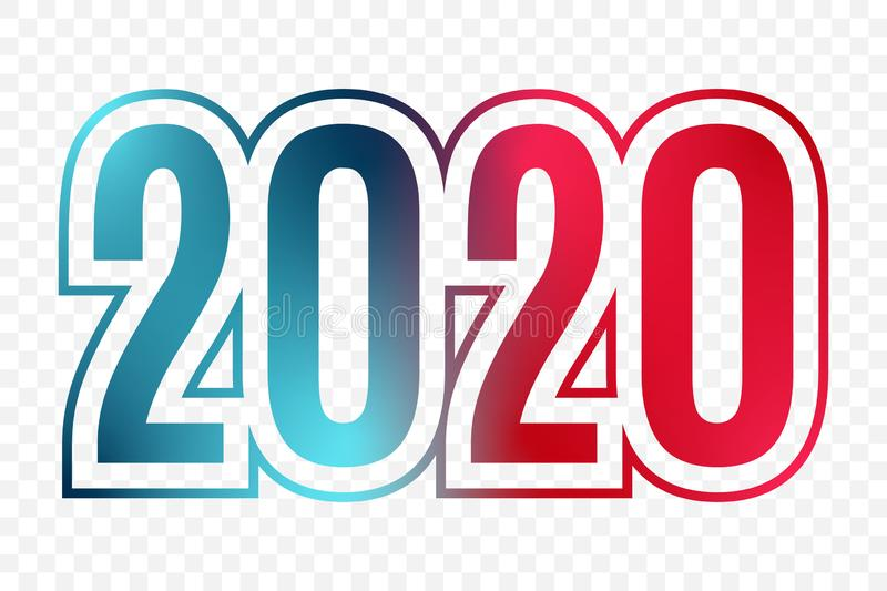 2020 vector blue red gradient symbol on transparent background. Happy New Year illustration for decoration, celebration stock illustration