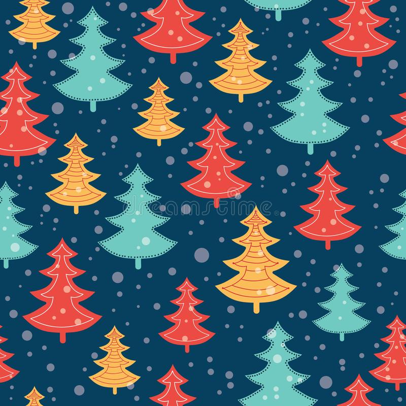 Vector blue, red, and yellow scattered christmas trees winter holiday seamless pattern on dark blue background. Great stock illustration