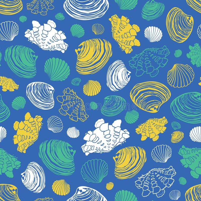 Vector blue repeat pattern with variety of clam seashells. Perfect for greetings, invitations, wrapping paper, textile stock illustration