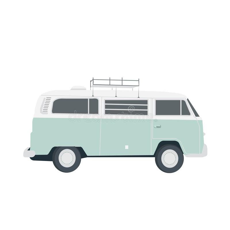 Vector blue retro bus isolated on white. Simple flat vector illustration