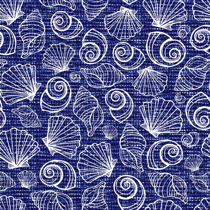 Vector blue seamless fabric texture with seashells pattern. Canvas for embroidery. Suitable for textile, gift wrap and royalty free illustration