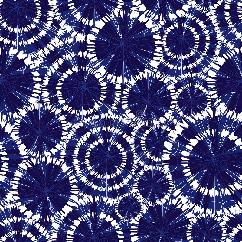 Vector blue shibori circle wheels overlap seamless pattern. With spiderweb detail. Suitable for textile, gift wrap and royalty free illustration