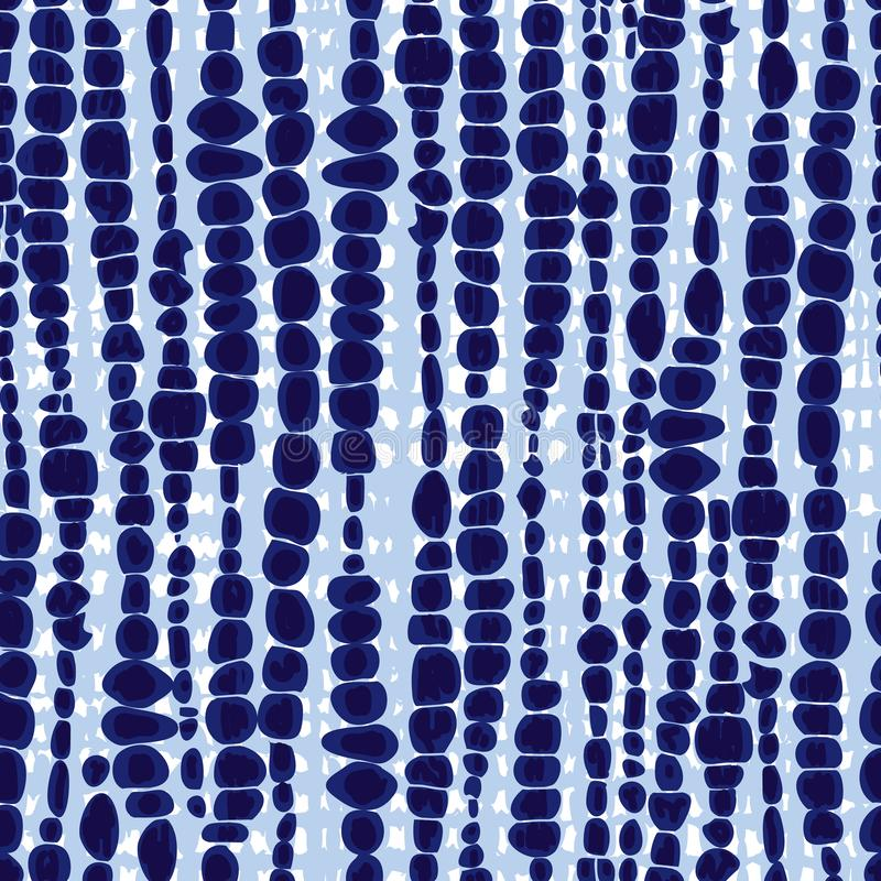 Vector blue shibori vertical blob lines seamless pattern. Suitable for textile, gift wrap and wallpaper. royalty free illustration