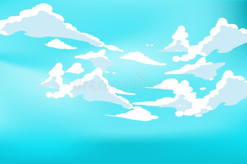 Vector blue sky clouds. Anime clean style. Background design. Cartoon Vector blue sky clouds. Anime clean style. Background design vector illustration