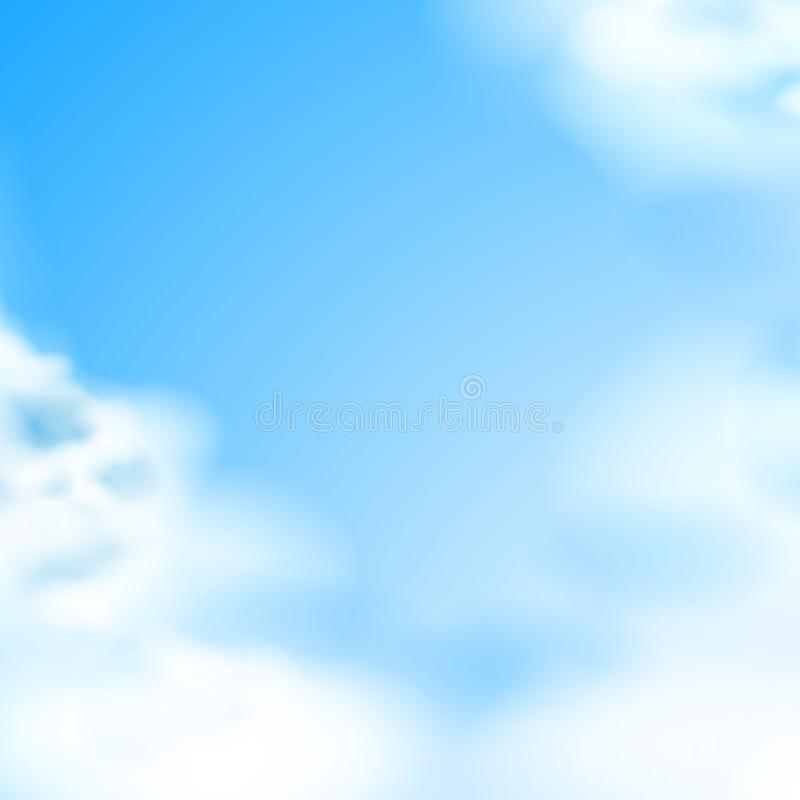 Vector blue sky white clouds natural backdrop royalty free illustration
