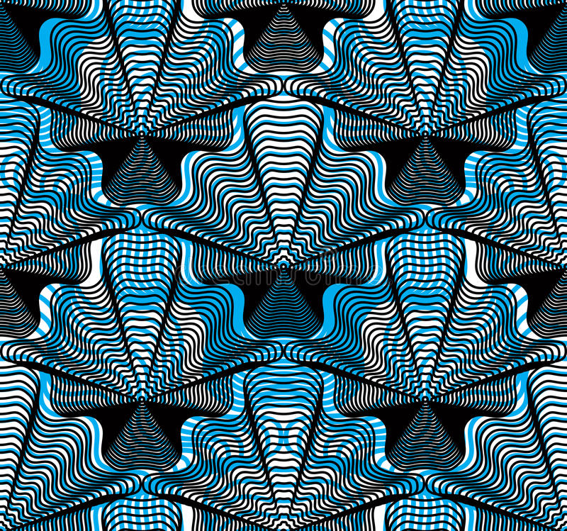 Vector blue stripy endless overlay pattern, art continuous geo. Metric background with graphic lines. Kaleidoscope effect stock illustration