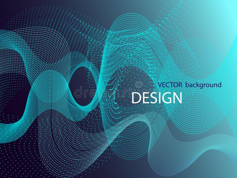 Vector blue technology design. Abstract particle flow. Science Wallpaper.Technology poster. Eps10 vector illustration