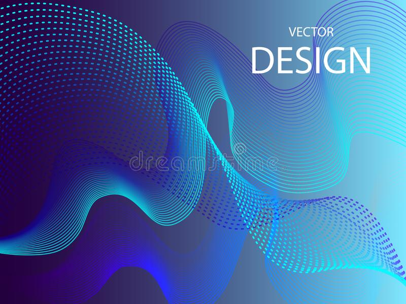 Vector blue technology design. Abstract particle flow. Science Wallpaper.Technology poster. Eps10 stock illustration