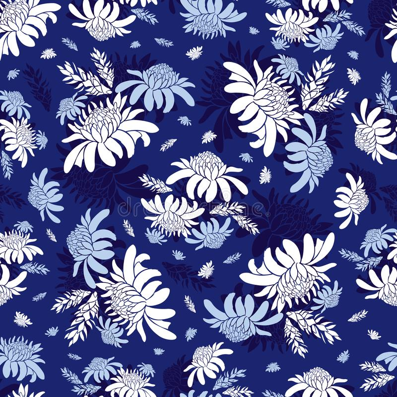Vector blue torch ginger flower tropical floral seamless pattern. Suitable for textile, gift wrap and wallpaper. royalty free illustration