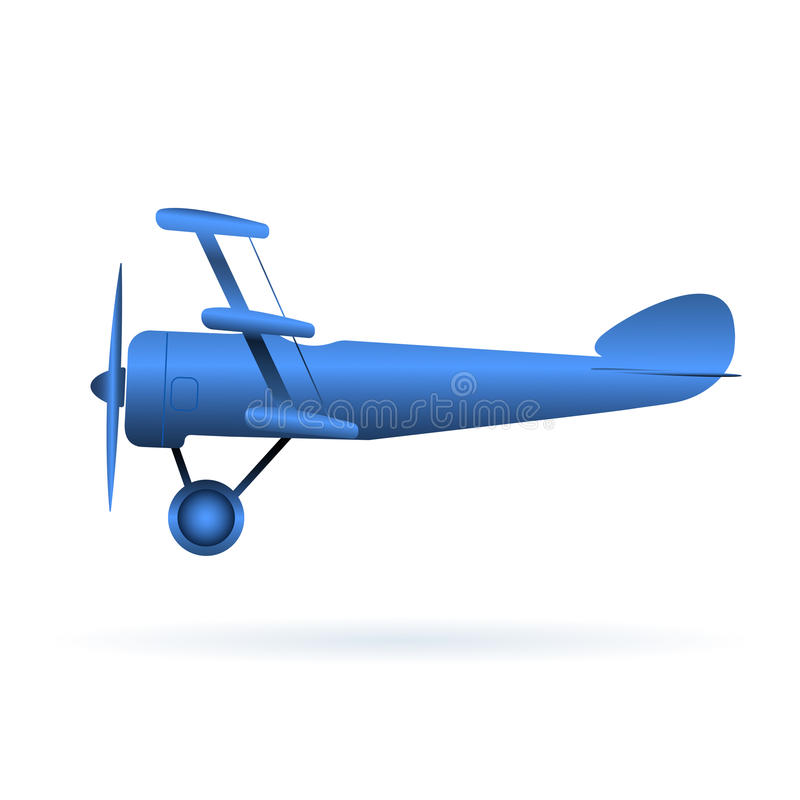 Vector blue toy airplane over white vector illustration