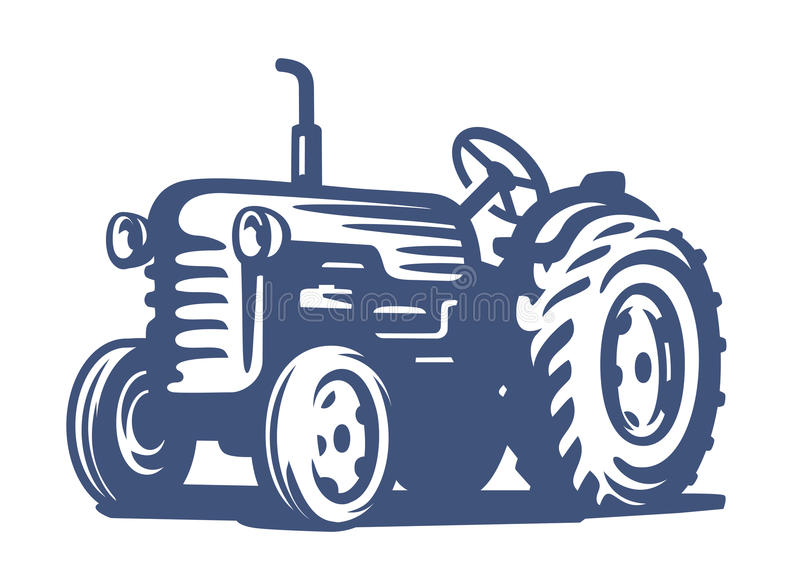 Vector blue Tractor. Icon on white background royalty free illustration