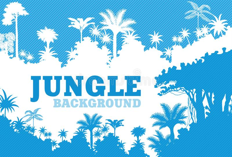 Vector blue Tropical Rainforest Jungle Background stock illustration