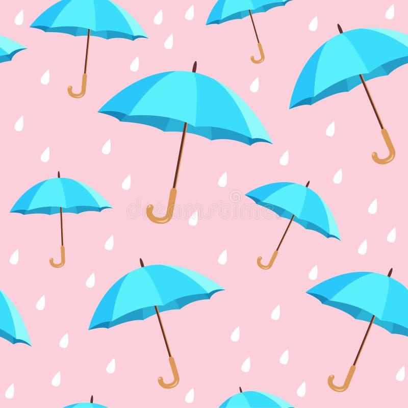 Vector blue umbrellas seamless pattern vector illustration