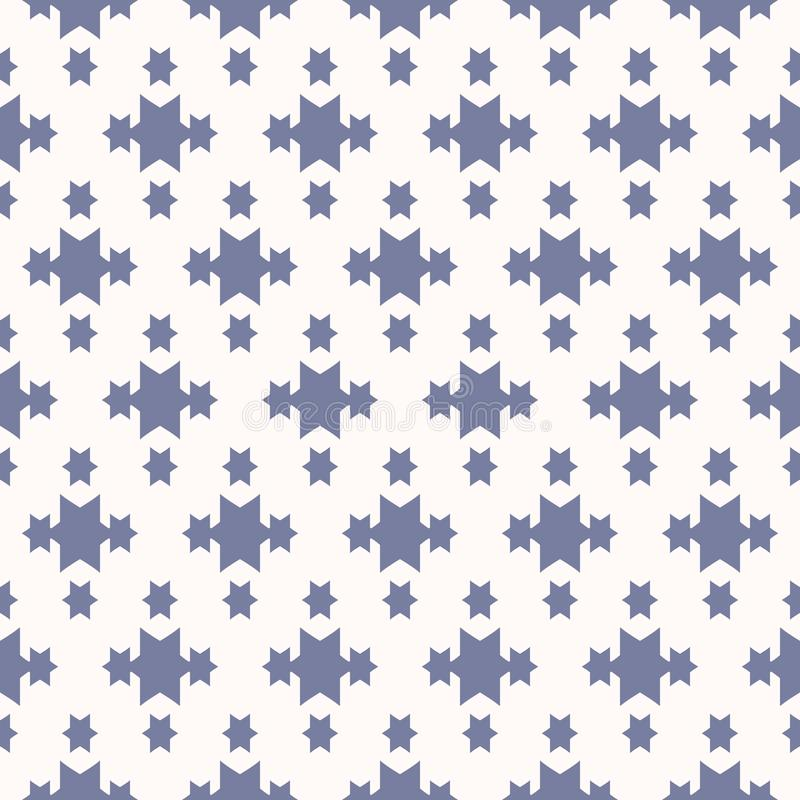 Decorative design for babies, girls and boys, fabric, textile, clothing. Vector blue geometric seamless pattern with star shapes, magic sparkles. Abstract vector illustration