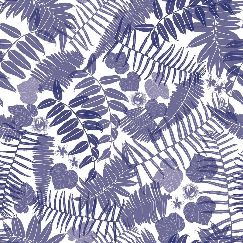 Vector blue and white seamless pattern with transparent ferns, leaves and wild flower. Suitable for textile, gift wrap and vector illustration