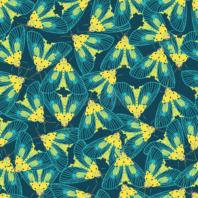 Vector blue and yellow moths with detailed wings outlines repeat pattern. Suitable for gift wrap, textile or wallpaper. royalty free illustration