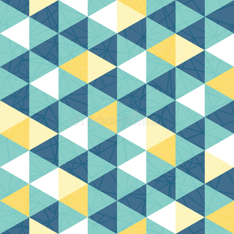 Vector blue and yellow triangle texture seamless repeat pattern background. royalty free illustration
