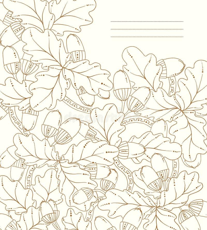 Vector Blumenkarte, Retro- Eichenblätter und Eicheln. vektor abbildung