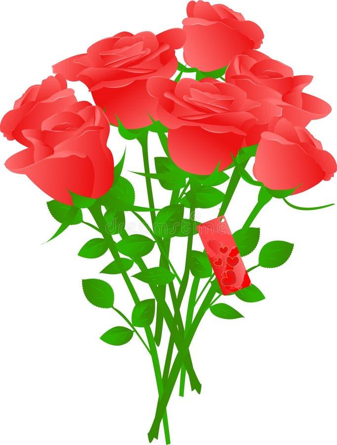 Vector Blumenstrauß der roten Rosen stock abbildung