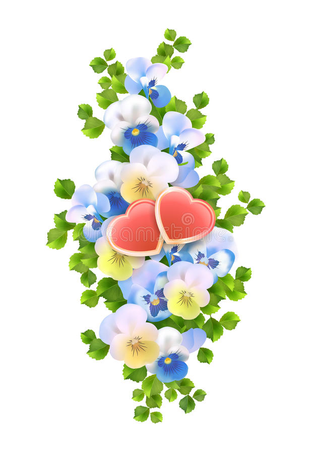 Vector Blumenstraußblumen, Herzen auf weißem Hintergrund stock abbildung