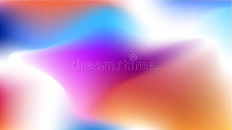 Vector blurred background, for phone screen. Pink, orange and blue gradient web pattern for wallpaper, horizontal and bright. Whit stock illustration