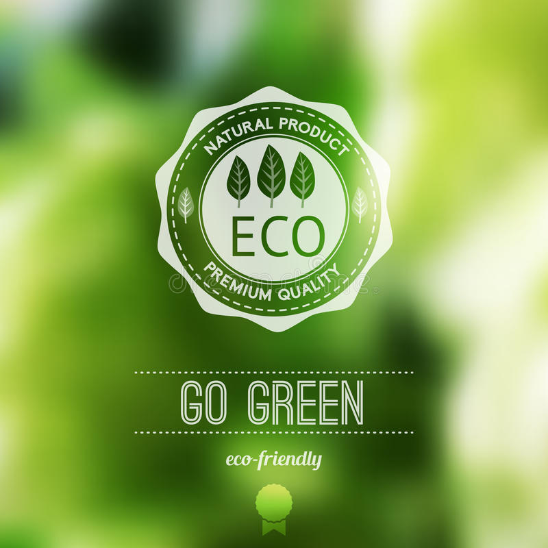 Vector blurred landscape, eco badge, ecology label, nature view. Green, organic product. Eco products, organic standard, or premium quality green product. Quote stock illustration
