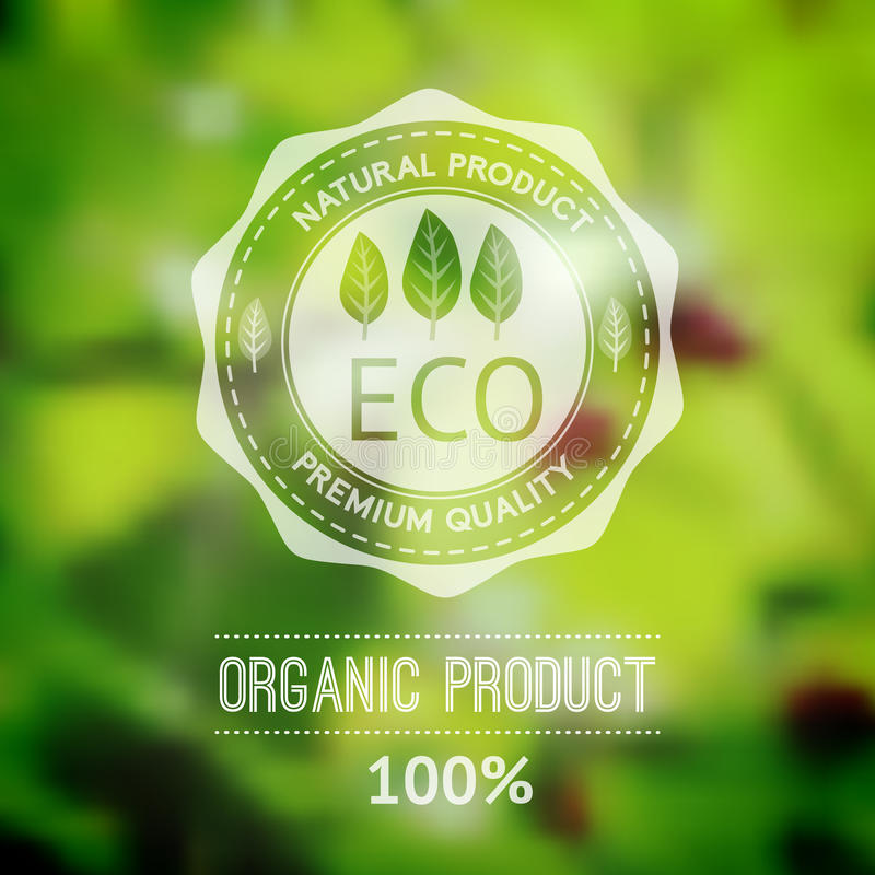 Vector blurred landscape, eco badge, ecology label, nature view. Green, organic product. Eco products, organic standard, or premium quality green product. Quote royalty free illustration
