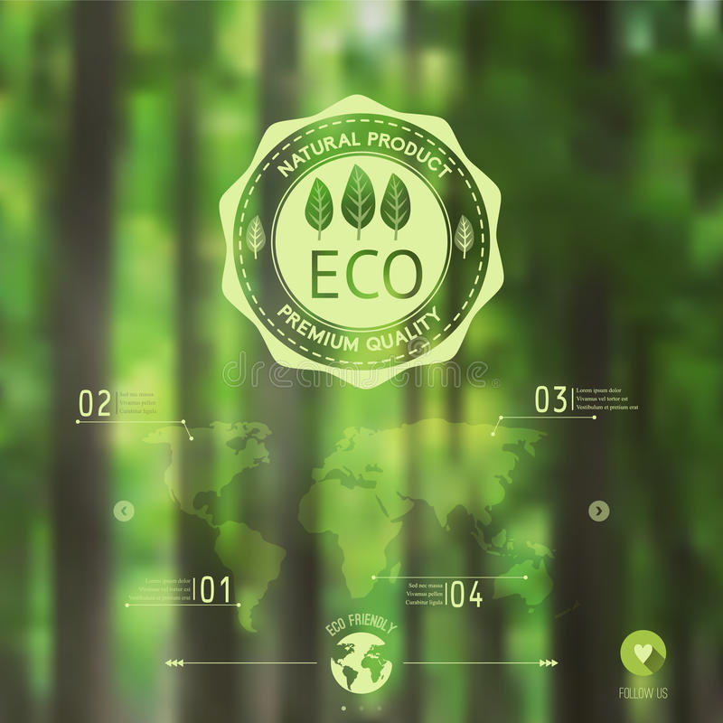 Vector blurred landscape, forest, eco badge, ecology label, nature view. Forest blur background, web and mobile interface. Template. Eco design royalty free illustration
