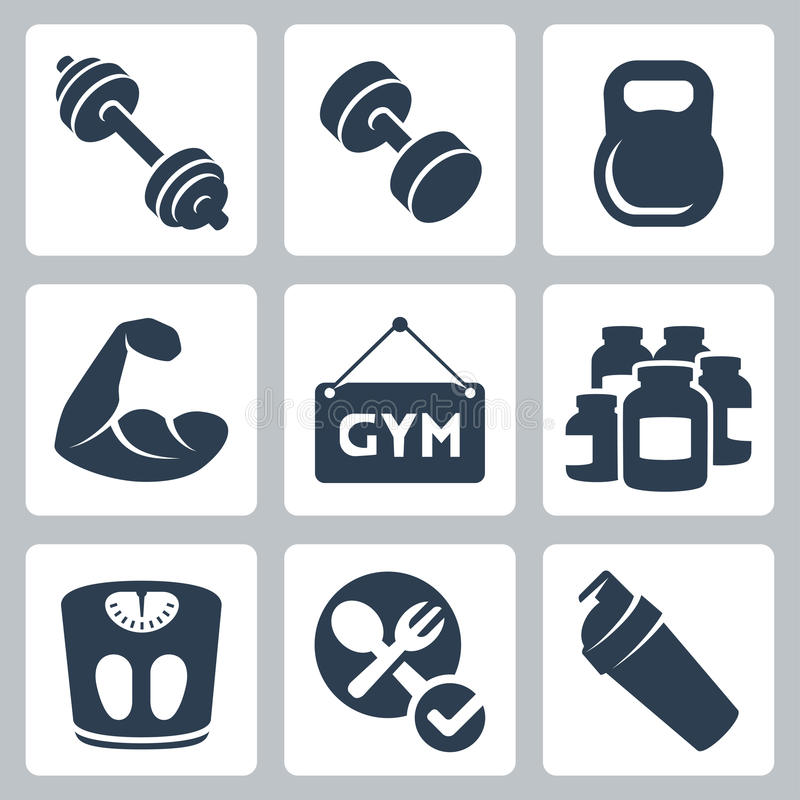 Vector bodybuilding/fitness icons set royalty free illustration
