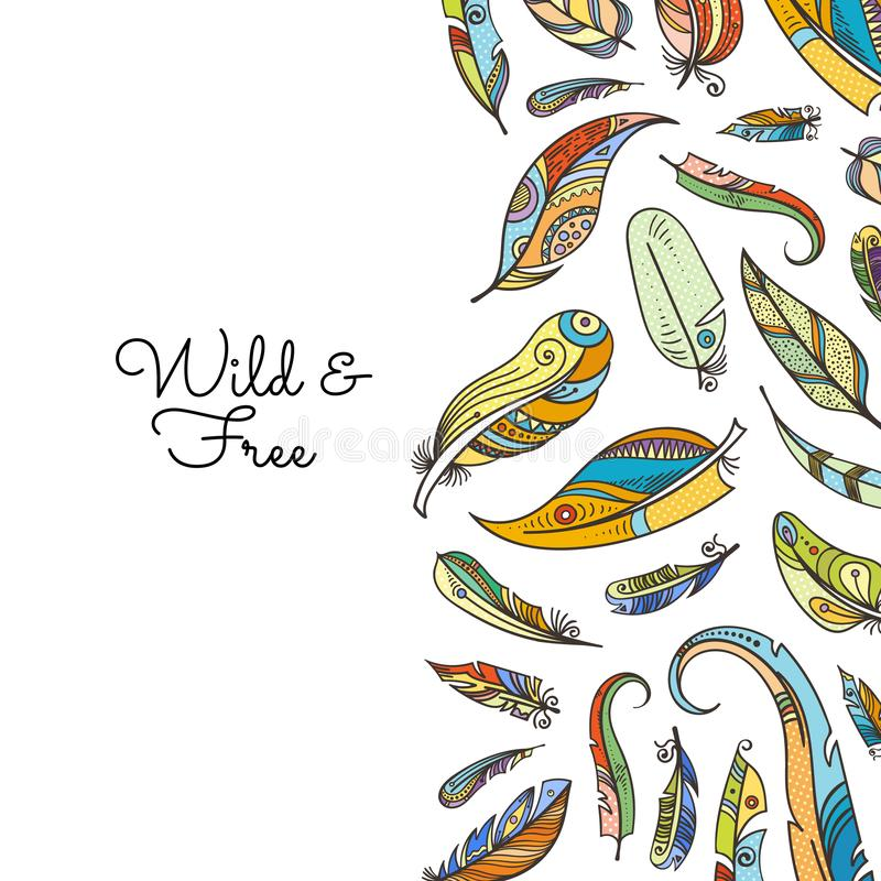Vector boho doodle colored feathers background illustration royalty free illustration