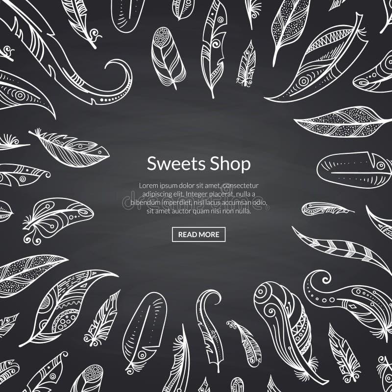 Vector boho doodle feathers on black chalkboard background illustration stock illustration