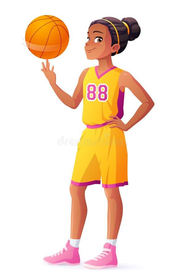 Vector a bola de giro da menina africana nova do jogador de basquetebol no dedo ilustração do vetor
