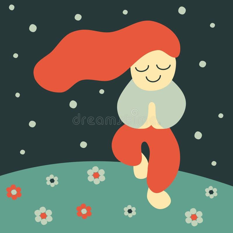 Vector flat style illustration of a happy yoga girl meditating under the stars stock illustration