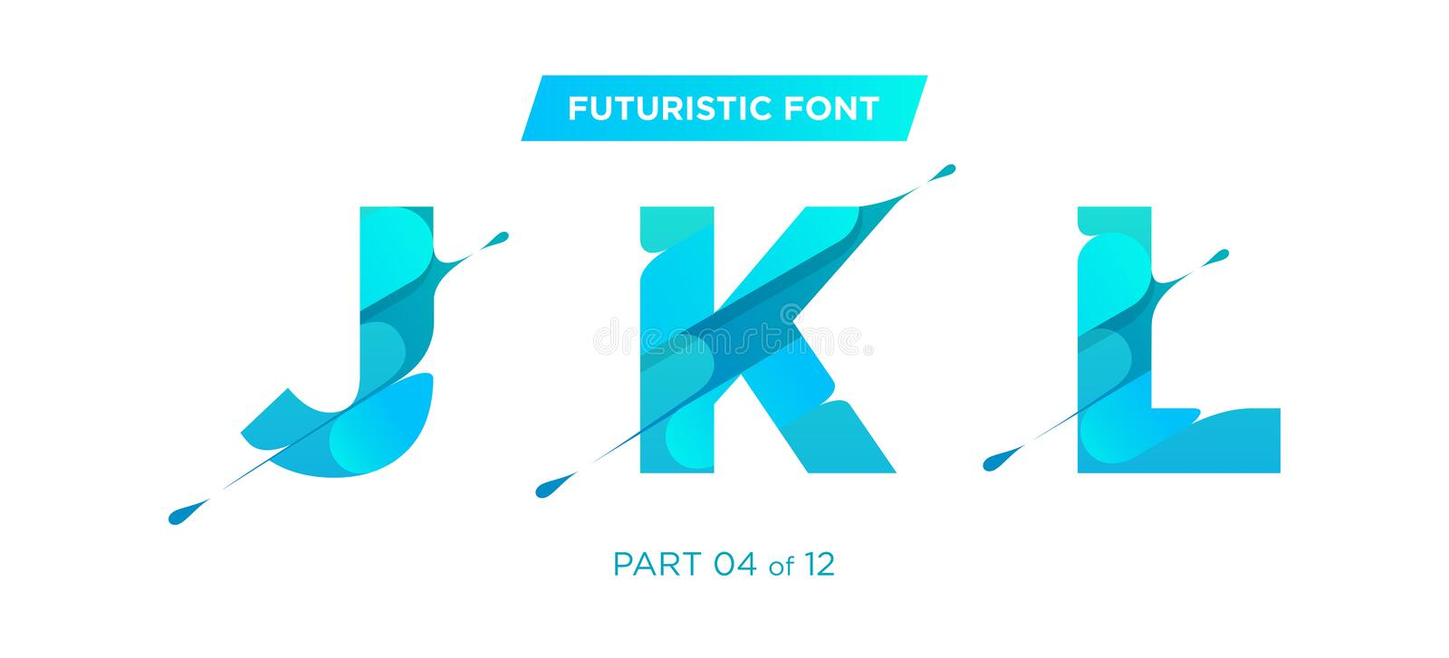 Vector Bold Geometric Rounded Font Design. Ultra Modern Style. stock illustration