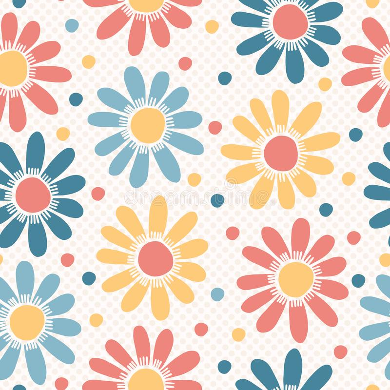 Vector bold pastel flowers on polka dots. Hand drawn seamless vector pattern stock illustration