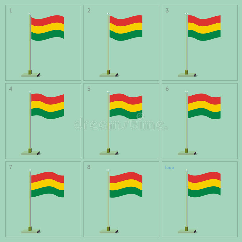 Vector Bolivia country waving flag animation. Sequence sprite sheet illustration stock image