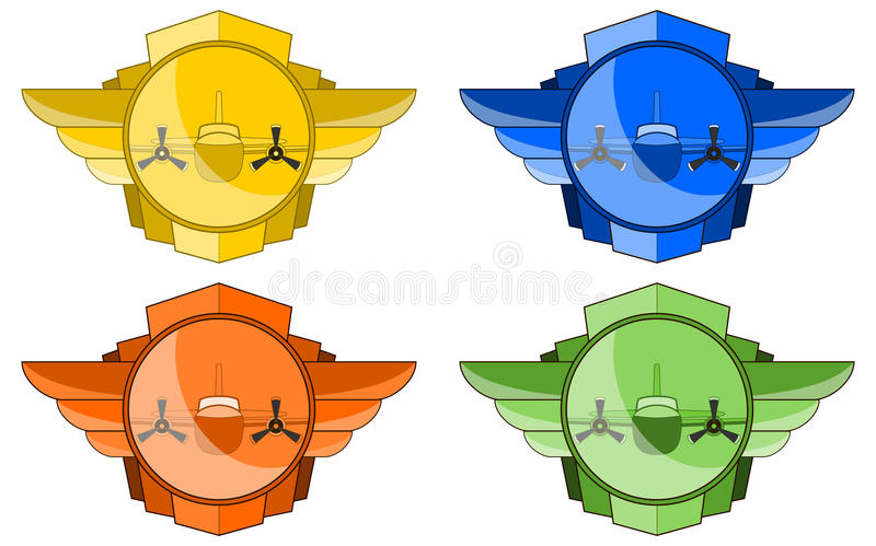 Download Vector Bomber In Wings And Circle Emblem Stock Vector - Image: 13690950