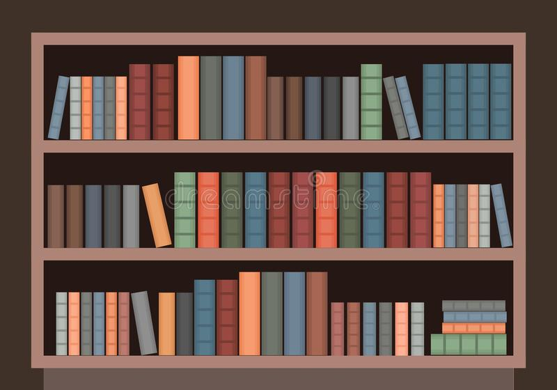 Old book case. Vector book case. Old wooden bookcase in library vector illustration