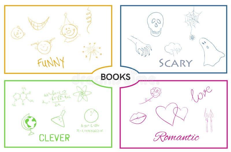 Vector book categories. Book genres. stock illustration