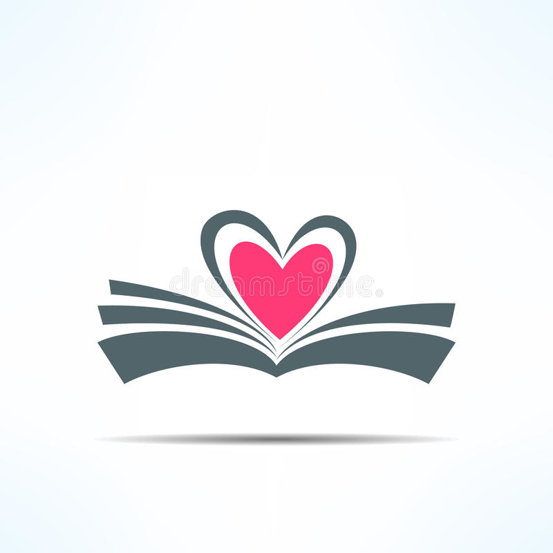 Vector book icon with heart made of pages. Love. Reading concept stock illustration